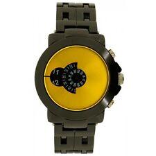 Reloj de pulsera hora de salto Softech para Hombre analógico de metal de visualización de disco rostro Amarillo Cuarzo