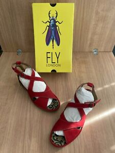 Fly London Brand New Boxed Summer Sandals Size 8 Red straps Heels Comfort Suede