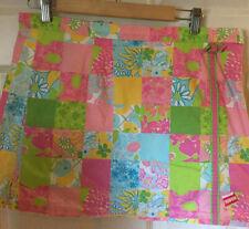 Lilly Pulitzer Skirt Skort Patchwork Pink Orange Print Golf slits zip pocket M
