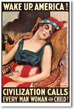 Wake Up America - Civilization Calls - NEW Vintage Reprint POSTER