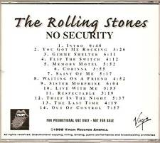 """ROLLING STONES """"No Security """" US Advance Promo CD RARE"""