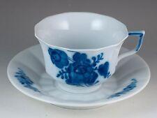 Vintage Royal Copenhagen Blue Flowers Angular Tea Cup & Saucer Made In Denmark
