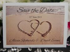 Beach Sand 2 Hearts Save the Date Cards on Heavy Pearl - Personalized - 10 Pk