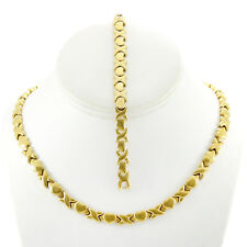 Hugs and Kisses Necklace Bracelet Set Stampato Stainless Steel Gold Plated 20""