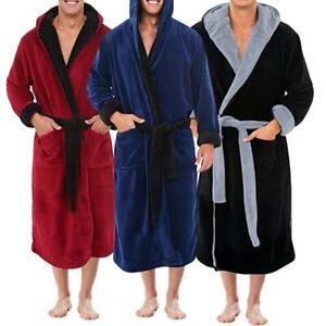 Men Winter Warm Long Dressing Gown Hooded Bathrobe Towelling Bath Robe Nightwear