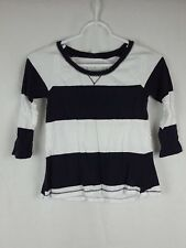 Abercrombie & Fitch Kids Girl's M Blue White Striped 3/4 Sleeve Scoop Neck Shirt