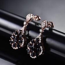 HUCHE Luxury Retro Rose Gold Filld Flower Black Sapphire Lady Banquet Earrings