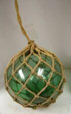 "Vintage Large Japanese Green Blown Glass Fishing Float Ball, w/Net, 12"" Dia."