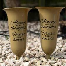 Set of 2 Gold Forever in Our Hearts Fluted Spiked Memorial Grave Flower Vases