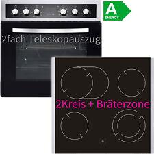 Edelstahl Einbauherd-Set Einbau Ceran Kochfeld mit 2x Teleskopauszug Timer Grill