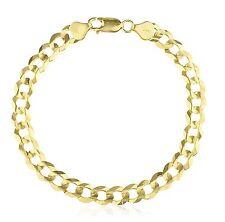 "14 Karat Yellow Gold Solid Classic Cuban Curb Link Bracelet Chain 7mm 8.5""+FREE"