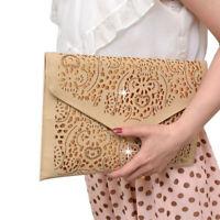 Women Hollow Flower Envelope Day Clutch Chain Shoulder Bag Evening Purse Handbag