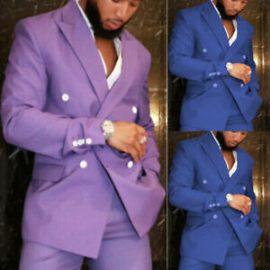 Blue Lavender Men Suit 2pcs Double Breasted Groom Suits Formal Wedding Tuxedos