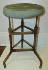 Vtg Metal/Steel Steampunk Industrial Mid Century Mechanic Round Stool Chair