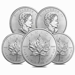 Lot of 5 - 2021 1 oz Canadian Silver Maple Leaf .9999 Fine $5 Coin BU