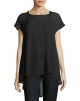 Eileen Fisher Black Confetti Laser Cut ALine Tunic Top Silk Size XS Small NWT
