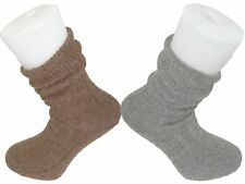 BROWN and GREY Alpaca Bed Socks Thick, soft and Warm, 90% Alpaca Wool
