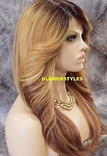 "28"" Long Wavy Golden Blonde Brown Mix Full Lace Front Wig Heat Ok Hair piece"