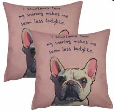 Set of 2 Cotton Linen Canvas Home Decorative Throw Pillow Case 17x17 inches DOG