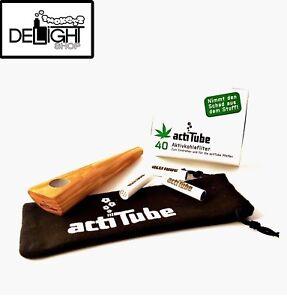 actiTube Tune In Olivenholz Pfeife + 40 Aktivkohlefilter