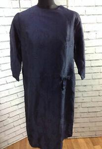 Mad Men Vintage Cocktail 60's Navy Sparkle 3/4 Sleeve Evening Dress Midi Sz18