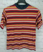 Vintage Tommy Hilfiger Red Yellow Blue Boys Stripped T-Shirt Youth Size Large L