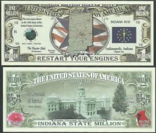 Lot of 25 Bills- Indiana State Million Dollar Bill w Map, Seal, Flag, Capitol