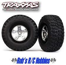 TRAXXAS Chrome Blk Beadlock w/Tire (2):Slash 2WD R,4WD FR.R (TRA5878)