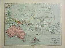 1904 Antica Mappa Oceania Polinesia mostrando possesions Nuova Guinea Nuova Zelanda