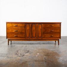 Mid Century Modern Credenza Dresser Broyhill Emphasis Drexel 9 Drawer Walnut Mcm