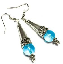 Long Turquoise Earrings Tibetan Antique Vintage Style Pierced Hooks Glass Beads
