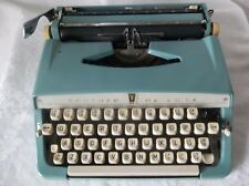 Vintage Blue Brother Deluxe Manual Typewriter with Case