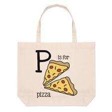 lettere P È PER PIZZA GRANDE BORSA CON MANICO da Spiaggia - Fast Food alfabeto