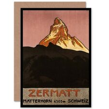 Matterhorn Mountain Zermatt Switzerland Alpine Snow Blank Greeting Card