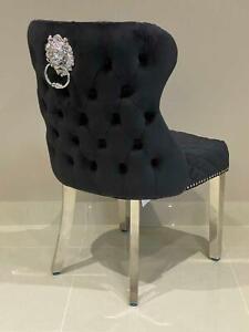Oxford Black Velvet French Brushed Chrome Legs Lion Knocker Button Dining Chair