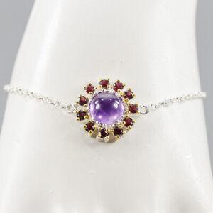 Jewelry Design Handmade Amethyst Bracelet Silver 925 Sterling  Size  /BR05024