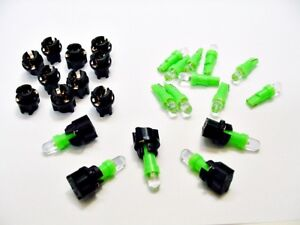 """15 Green Ford LEDs Domes Lights Bulbs 3/8"""" Sockets Instrument Panel Cluster Dash"""