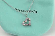 """Tiffany & Co. Platinum Pink Ruby & Diamond Heart Pendant With 18"""" 18K White Gold"""