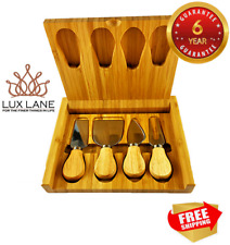 4 Piece Cheese Knife Set Wooden Case Cutting Board Knives Fork Slicer