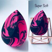 Beauty Super Soft Marble Black & Pink Face Cut Foundation Blender Makeup Sponge