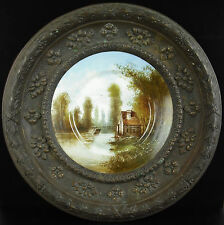 Assiette murale en porcelaine de Paris encadré de cuivre vers 1900 au Bon Marché