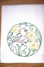 PURPLE FINCH AND BUTTERCUPS EMBROIDERED FLOUR SACK DISH TOWEL