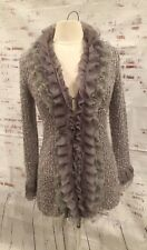 Sioni Sweater Cardigan Size S Ruffled Lace Gray Textured