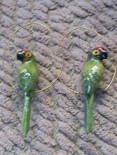 NACH BIJOUX-Green Parrot Creoles Earring-hand-painted-