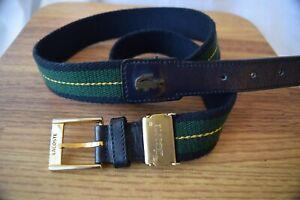 Lacoste belt...gold hardware...stripe woven canvas...size 93 cm long