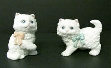 Vintage Long Hair Kitten Cat Pair Figurines Homco Home Interiors White 1428