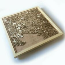 Melbourne Wooden Map - Laser Cut Streets City Maps 3d Framed Wall Art Wood