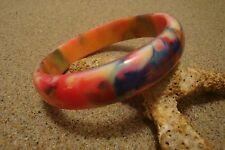 Out of This World Bakelite Bracelet; Fabulous Marbled Rainbow End of Day Colors!