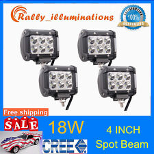 4X 18W Cree Led Work Lights Cube Pods Offroad SPOT Lamp ATV JEEP Car 4inch RALLY