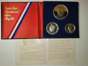 1776 - 1976 US Bicentennial Silver Proof Set 3 Coin Piece